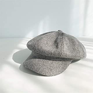 ZiWen Lu Autumn and Winter Woolen Beret Female Japanese Korean Wild red Octagonal Cap mesh hat ins British Leisure Small Grid (Color : Grey, Size : One Size)