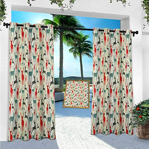 YUAZHOQI Deer Outdoor Curtain, Winter Season Animal Silhouettes in Various Stances Jumping Standing Running Wooden, W52 x L95 Outdoor Curtain for Patio Waterproof(1 Panel)