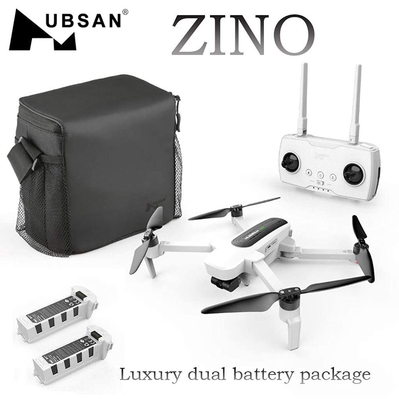 HUBSAN New Zino Drone,with 4K Camera H117S GPS WiFi 5G Brushless Motor, Foldable Arm Quadcopter,with Gesture Video,APP Control(2XIntelligent Flightbattery) (White)