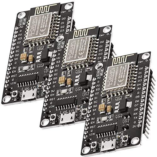 AZDelivery 3 x NodeMCU ESP8266 ESP-12F WiFi Lolin V3 scheda di sviluppo con CH340, compatibile con Arduino, e-Book incluso!