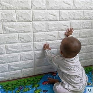Papel de pared estilo ladrillos 3D, YTAT IED Pegatina de Pared DIY 3D Ladrillo Papel Pintado Sticker Autoadhesivo Wall Paneles, Ideal para dormitorios y salones 60 x60 cm(Blanco)