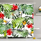 UDFK Shower Curtain Set with Hooks Tropical Leaves Pattern Red Focus Swimwear Green Seamless Flora Leaf Monstera Abstract Textures Waterproof Polyester Fabric Bath Decor for Bathroom 72x72 Inch