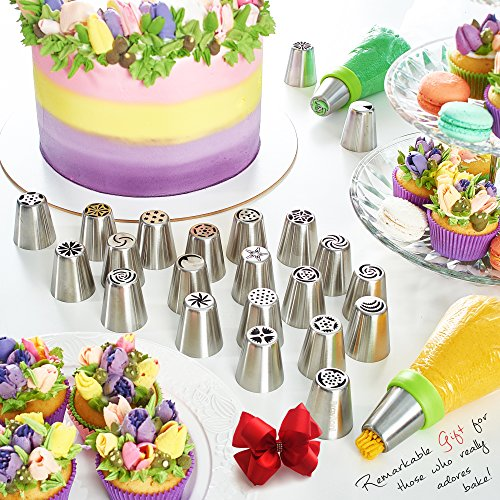 Russian Piping Tips - Cake Decorating Supplies - 39 Baking Supplies Set - 23 Icing Nozzles - 15 Pastry Disposable Bags & Coupler - Extra Large Decoration...
