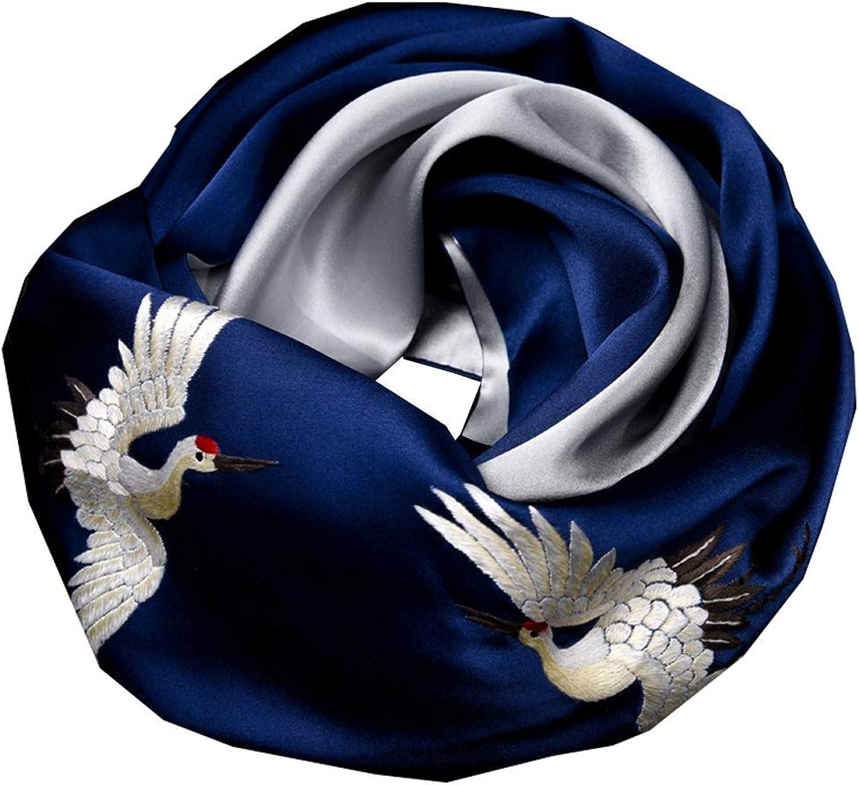 MSchunou Fashion Women's Silk Scarf Handmade Embroidery, Silk Scarf Female, Elderly Gift, Silk Shawl Ethnic Style, Scarf Shawl Shawl Scarf, Soft Texture, (color   bluee)