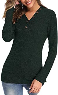 Women Ribbed V-Neck Long Sleeve Knit Pullover Sweaters Jumpers