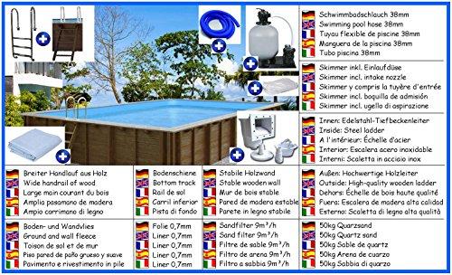 Holzbecken Giant Wood Mega Set rechteck 4,00m x 7,90m x 1,38m Folie 0,7mm Holzpool Pools Rechteckbecken Rechteckpool