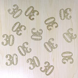 100 PCS Gold Glitter Number 30 Table Confetti 30th Birthday/Anniversary Celebrating Decorations