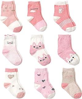 Rosa Algodón Niñas Calcetines Bebé,9 Pares Lindo adj. Bebé Calcetines Niña