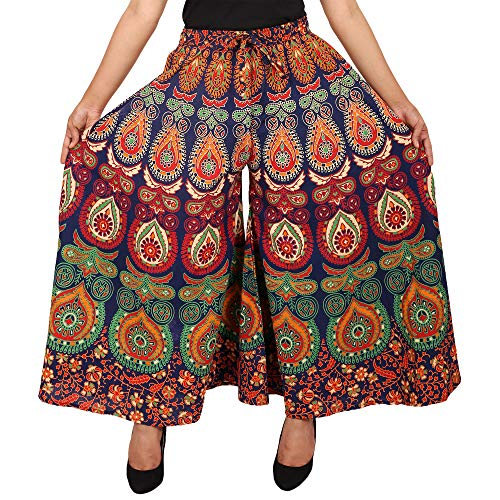 Jaipuri Fashionista Designer Cotton Women's Regular Fit Jaipuri Printed Divider Palazzo Pant (Free Size) Blue