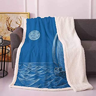 Sailboat Nautical Plush Blanket Night Sea View Sail Boat in Moonlight Wavy Nautical Ship Illustration Bed Blankets Violet Blue 50