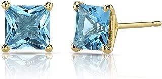 14K Yellow Gold Princess Cut 2.50 Carats Swiss Blue Topaz Stud Earrings