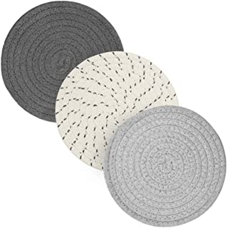 Pot Holders for Kitchen Table, Cotton Plant Mat Trivets for Cooking and Baking, 7 Inch Diameter, Set of 3 (Grey)