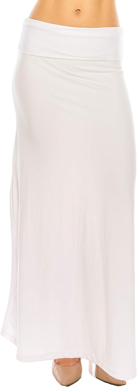RENESEILLE Women's Long Maxi Skirt – Casual High Waist Fold Over Elastic Waistband Soft Flare Foldable Stretch Lounge Boho