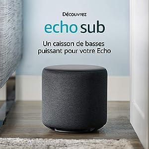 Echo Sub, Caisson de basses puissant pour votre Echo, Appareil Echo et service de musique en streaming compatibles requis