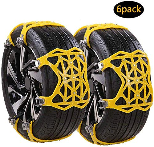 HAHMHO Reifen Schneekette, Universal Auto Schneeketten Gelb Einfach zu montieren Reifen Schneekette 6-teiliges Set für Auto, SUV, LKW mit 165-275mm Reifen Breite