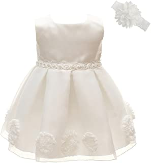 Baby Girls Baptism Dress Party Wedding Christening Special Occasions Gown with Headband