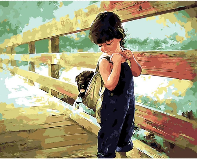 SKYTY Der Junge Mit Einem Hund Ölgemälde Bild by Zahlen Modul Bild Färbung Von Hand Einzigartiges Geschenk Home Decoration Für Kinderzimmer 16X20 Zoll DIY Rahmen B07PR8HKSM | Auf Verkauf