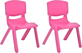JOON Stackable Plastic Kids Learning Chairs, 20.5x12.75X11 Inches, The Perfect Chair for Playrooms, Schools, Daycares and Home, Rose, (2-Pack)