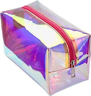 Holographic Makeup Bag, Cambond Clear Cosmetic Bag Organizer Large Capacity Iridescent Make up Pouch Clear Toiletry Pouch Hologram Clutch Cosmetic Pouch for Women (Holographic Peach)