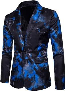 MISSMAO Men's Casual Dress Suit Slim Fit Floral Print Blazer Single Breasted One Button Suit Jacket Coats Tops