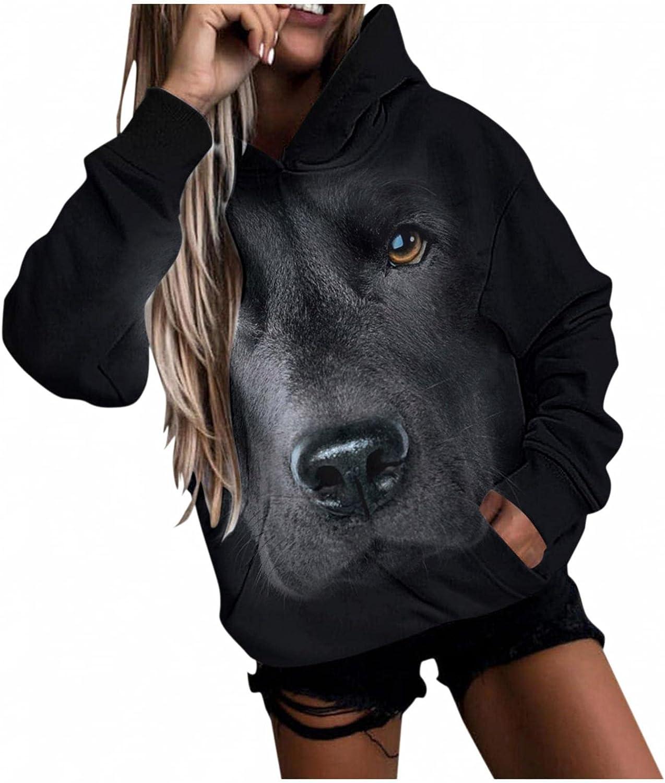 Qisemi Hooded Sweatshirt for Women Cute Animal Print Sweater Hoo