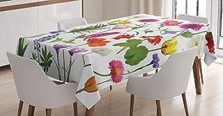 ABAKUHAUS Fleur Nappe, Roses colorées Tulipes, Linge de Table Rectangulaire pour Salle à Manger Décor de Cuisine, 140 cm x...
