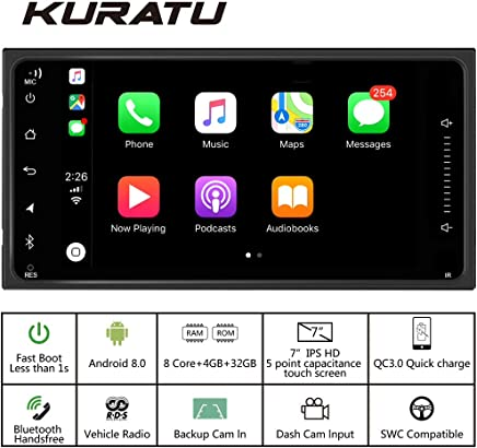 KURATU 7 Inch Toyota Car Stereo Radio Android 8.0 Octa-Core 4GB-32GB,Zlink Carplay,Phone Quick Charge 3.0,Built-in RDS//Bluetooth//WiFi,Toyota for Camry RAV4 Corolla Tundra 4Runner RunX Sequoia,More
