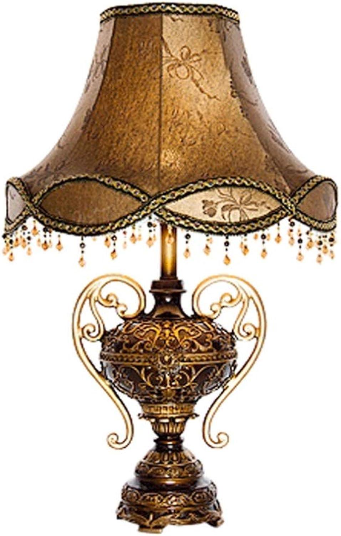 Europisch-stil Tischlampe, Stoff Tischlampe, Umweltfreundliche Harz Schlafzimmer Nachttischlampe, Kreative Prinzessin Home Decoration Tischlampe E27 (ausgabe   Dimmschalter)