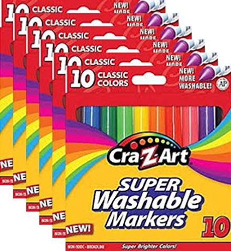Cra-Z-Art 10002 Classic Colors Washable Markers 10 Count, 6 Boxes