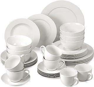 suntun Service de Table Complet 6 Personnes, 36 pièces Services Vaisselle Blanc Crème Moderne Porcelaine Assiettes Plates,...