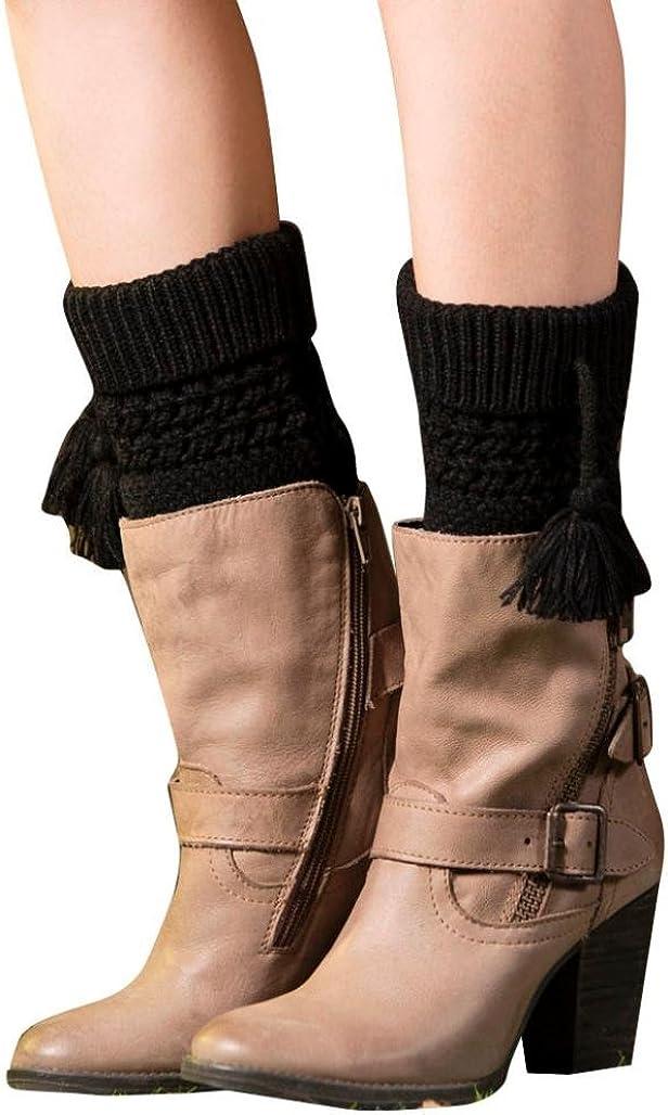 Amiley Women Girl Tassel Leg Warmer Cable Knit Boot Socks Cover Topper Cuff
