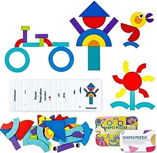 yoptote Juguetes Montessori Puzzles Infantiles Juegos Educativos de Ciencias Tangram Madera Diseño Tarjetas Día del Niño y...