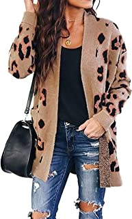 Women's Long Sleeves Open Front Leopard Print Button Down...