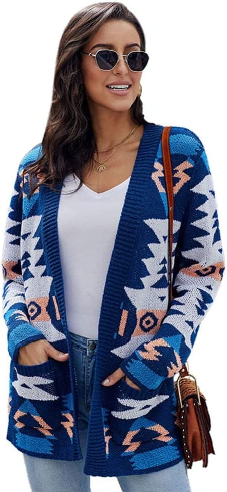 N / A Ladies Casual Cardigan Geometric Pattern Long-Sleeved Knitted Sweater with Pockets On Both Sides, White, Red, Dark Blue
