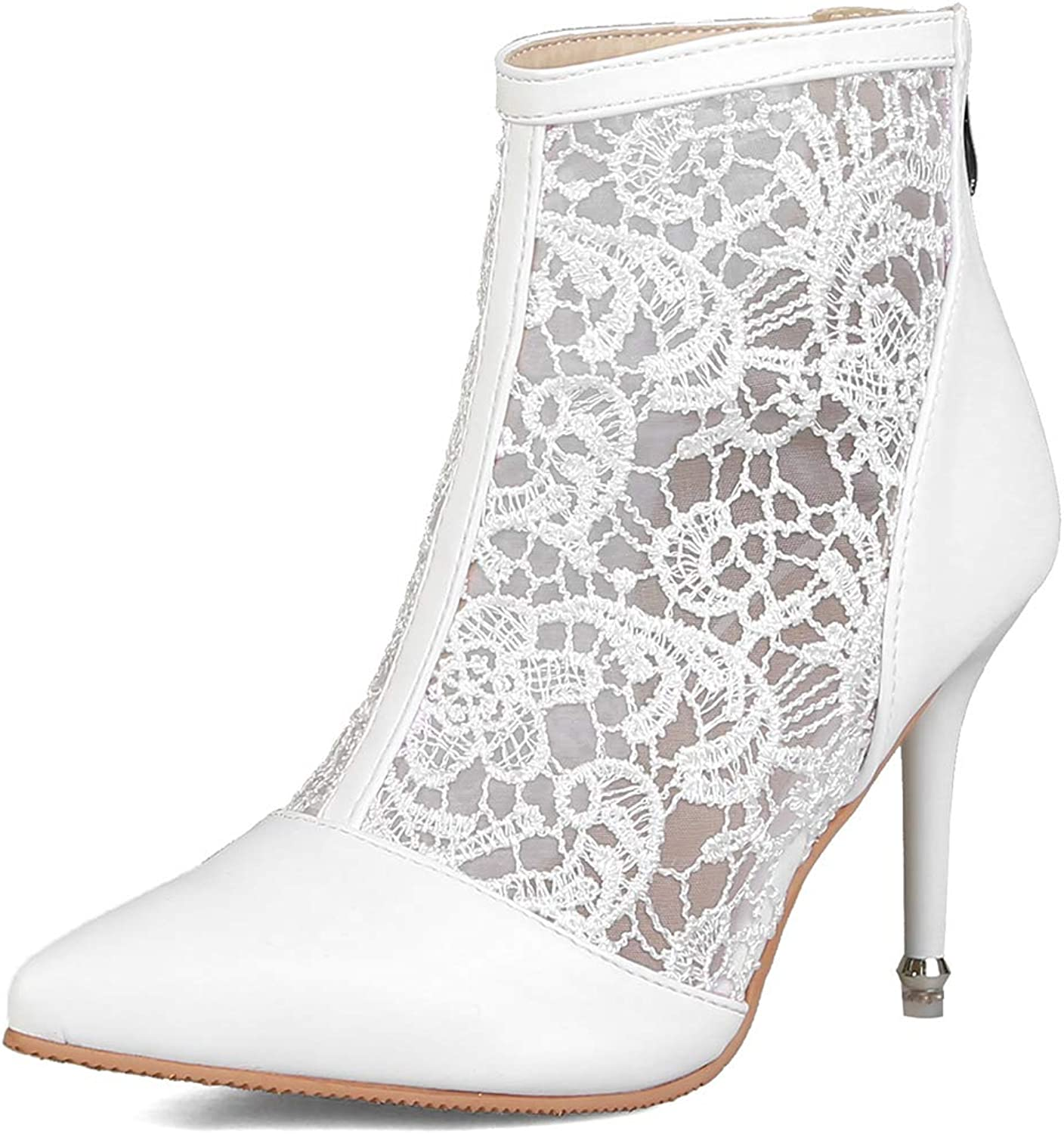 DoraTasia Women's Pretty Lace Flowers Pointed Toes High Heels Ankle Boots