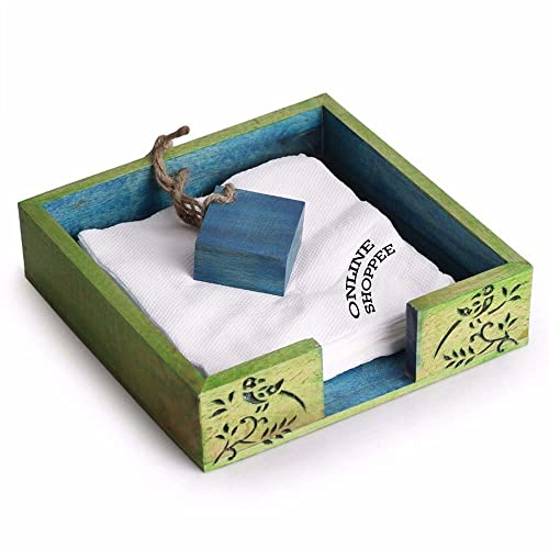 Onlineshoppee Wood Standard Size Leaf Design Napkin Tissue Paper Holder(20x20x6cm, Green)