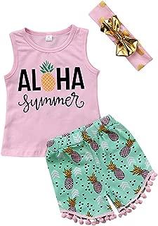 SUPEYA Toddler Baby Girls Cartoon Pineapple Vest Tops Tassel Shorts Headband 3Pcs Set