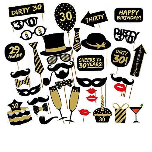 Veewon 30 ° Compleanno della Foto del Partito della Foto Props Unisex Divertente 36pcs Kit DIY Adatto per la Sua o la Sua Celebrazione 30 Compleanno Cabina Fotografica Puntello