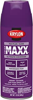 Krylon K09137000 COVERMAXX Spray Paint, Gloss Rich Plum, 12 Ounce