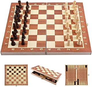 3 in 1 Chess Set for Kids - Wooden Folding Chess Board with Storage. Chess, Checker, Backgammon, Ideal for Kids, Beginners and Adults, Portable and Easy for Travel