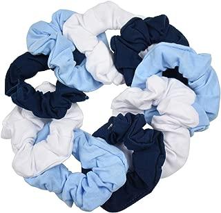 9 Pack Scrunchies Hair Ties - 3 White, 3 Navy, 3 Light Blue