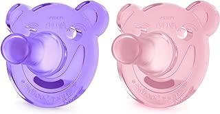 Philips Avent Soothie 安抚奶嘴,3 个月以上宝宝,粉色/紫色,熊形状,2 只装,SCF194/05