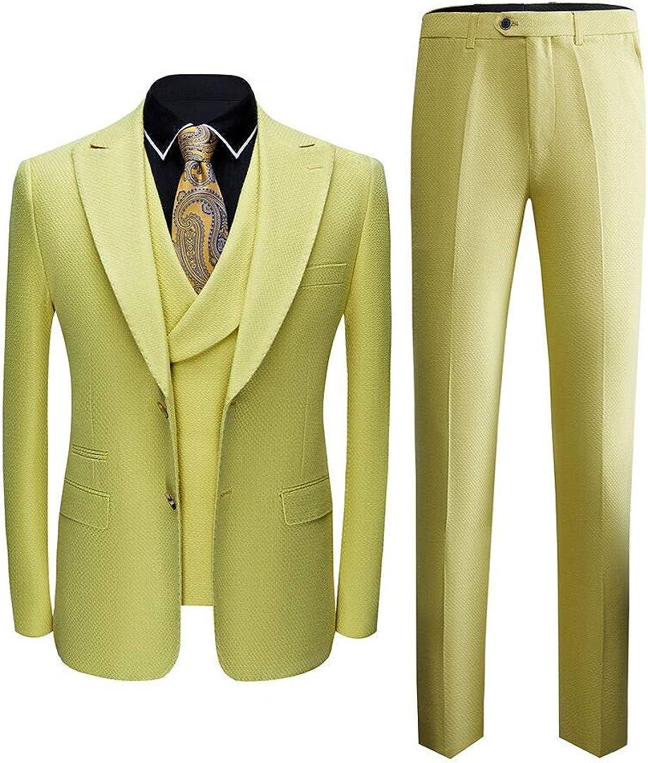 Men's Peak Lapel Yellow 3 Pieces Slim Fit Wedding Suits Groom Tuxedos Prom Suit