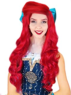 Anogol Hair Cap +80cm Curly Wavy Red Wigs Women Fashion Lolita Cosplay Wig