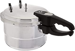 AKKAPEARY Aluminum Pressure Cooker Steamer Pot 11 Liter Stock Soup Boiler Time Saver Automatic Open Close Silver Cooking Tool Cookware Home Kitchen Restaurant Holiday Gift (Available in other sizes)