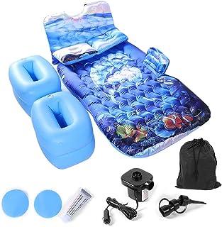 Cama hinchable de coche de viaje cómoda con 2 almohadas, cama de aire, colchón hinchable de viaje, con bomba práctica para coche, diseño de océano