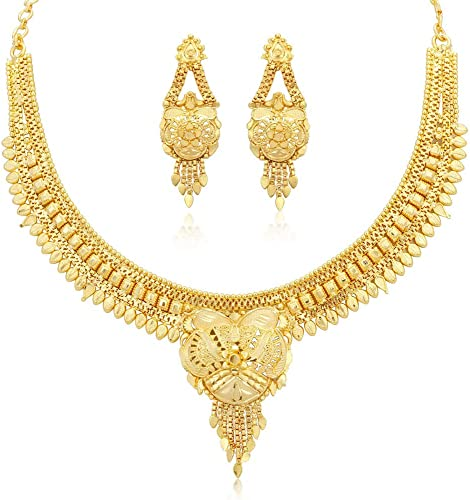 Brilliant 24 Carat Gold Plated Wedding Jewellery Choker Necklace Set For Women N73723