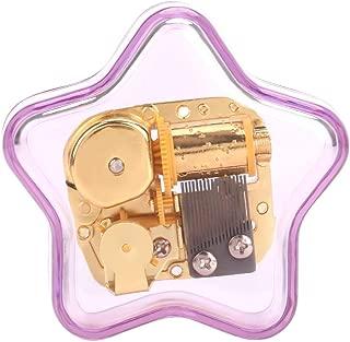 Acrylic Pentagram Purple Wind-up Clockwork Music Box, Romantic Gift for Christmas Wedding Birthday Valentine's Day Home Decor (Swan Lake)