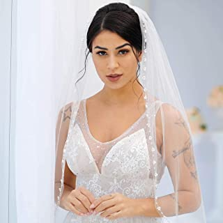 Brishow Women's Wedding Veil 1 Tier Fingertip Length Flower Short Bridal Veils with beaded edge and comb for Bride