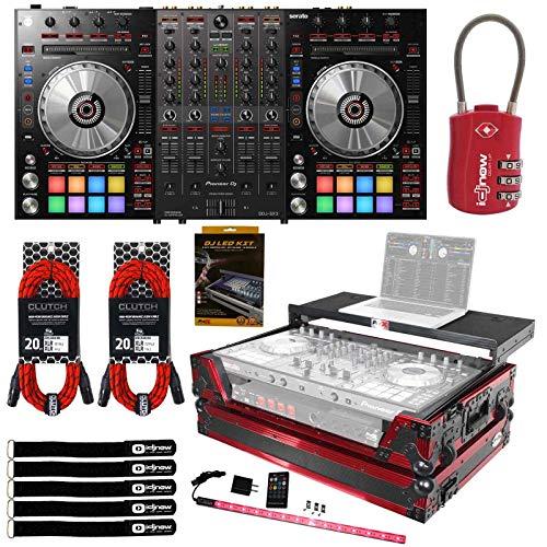 Best Price! Pioneer DDJ-SX3 4-Channel USB Serato DJ Controller w Red Black Glow Flight Case